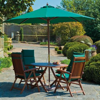 Cornis Folding Table with 6 Recliners, Green Cushions, Parasol & Base