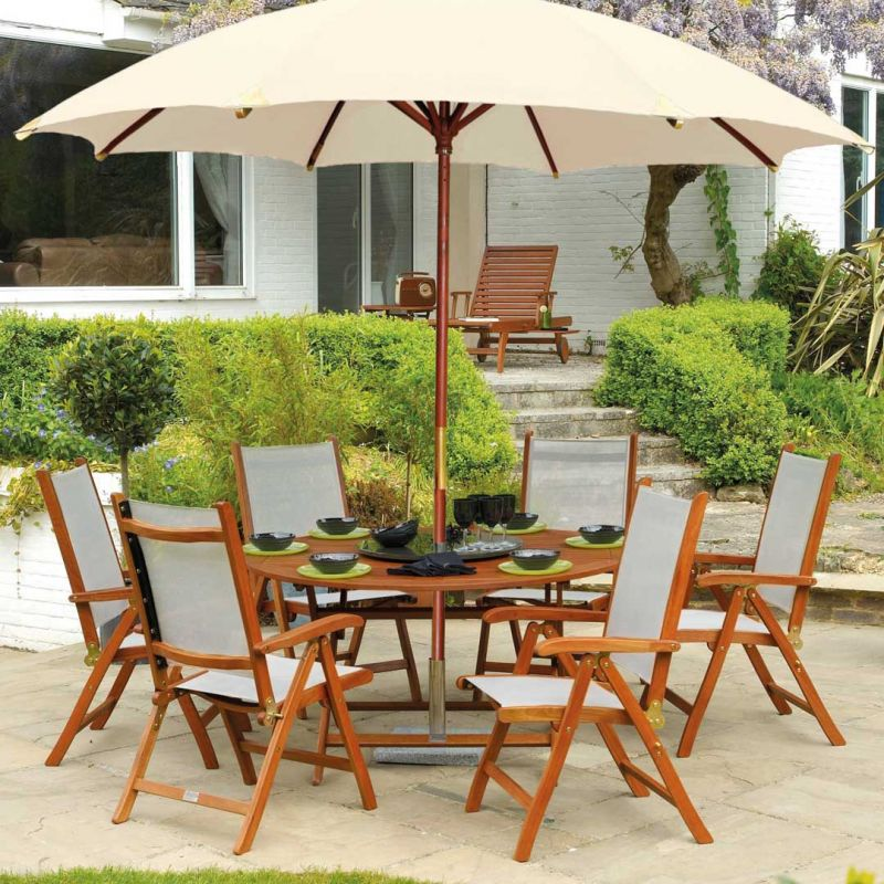Cornis Folding Table with 6 Recliners, Parasol, Base & Granite Lazy Susan