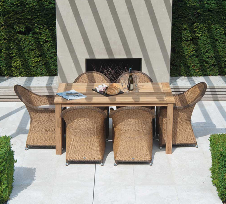 Reclaimed Teak Table & Hyacinth 8 Armchairs W.Cush