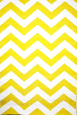Outdoor Rug Psychedelia Yellow and White (120 cm X 180 cm)