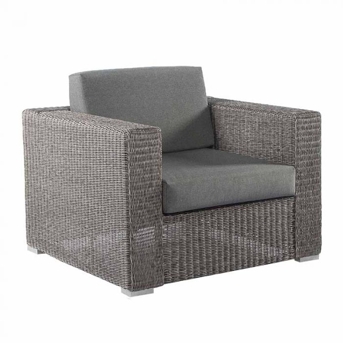Alexander Rose Monte Carlo Grey Rattan Lounge Chair with Cushion