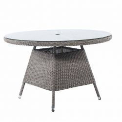 Alexander Rose Monte Carlo 1.2m (3ft 11in) Round Grey Rattan Glass Topped Table