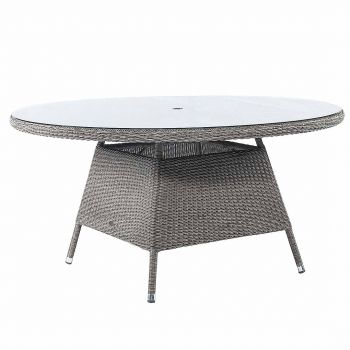 Alexander Rose Monte Carlo 1.5m (4ft 11in) Round Grey Rattan Glass Topped Table