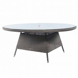 Alexander Rose Monte Carlo 1.8m (5ft 10¾in) Round Grey Rattan Glass Topped Table