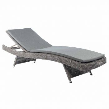 Alexander Rose Monte Carlo 2m (6ft 7½in) Adjustable Grey Rattan Sunbed with Cushion
