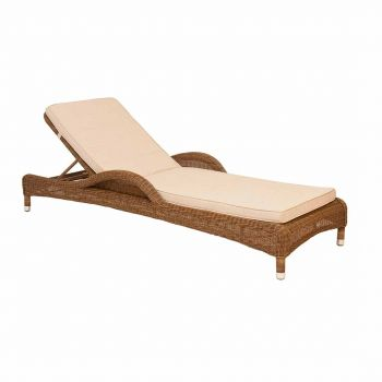 Alexander Rose San Marino Adjustable Light Brown Rattan Sunbed with Cushion