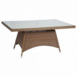 Alexander Rose San Marino 1.6m (5ft 3in) Light Brown Rectangular Glass Topped Rattan Table