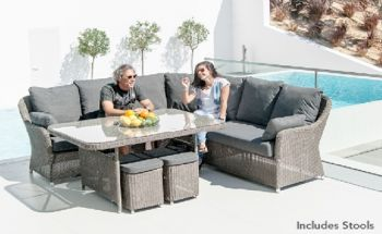 Alexander Rose Monte Carlo 6 Seater Rectangular Grey Rattan Dining Set with Stools