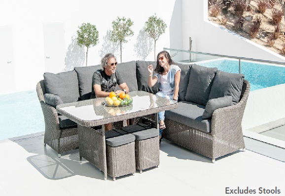 Alexander Rose Monte Carlo 6 Seater Rectangular Grey Rattan Dining Set without Stools