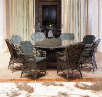 Alexander Rose Monte Carlo 8 Seater Grey Rattan Open Weave Round Dining Set