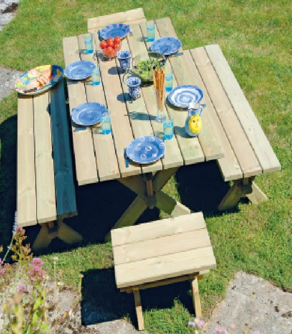 Alexander Rose Pine Farmer 6 Seater Picnic Bench Dining Set