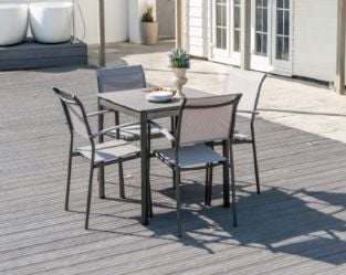 Grey Portofino Lite Stone Table and Four Seats Dining Set by Alexander Rose