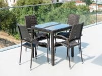 Alexander Rose Ocean 4 Seater Dark Brown Rattan Square Dining Set