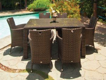 Alexander Rose Ocean 6 Seater Dark Brown Rattan Rectangular Dining Set
