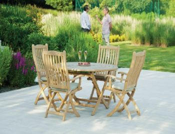 Alexander Rose Roble 4 Seater Round Folding Dining Set