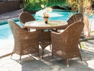 Alexander Rose San Marino 4 Seater Light Brown Rattan Round Dining Set
