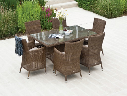 Alexander Rose San Marino 6 Seater Light Brown Rattan Rectangular Dining Set