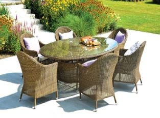 Alexander Rose San Marino 6 Seater Light Brown Rattan Oval Dining Set