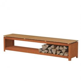 Corten Steel Wood Storage Bench  - 2m (6ft 6in)