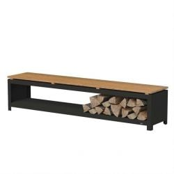 Black Coated Steel Wood Storage Bench  - 2m (6ft 6in)