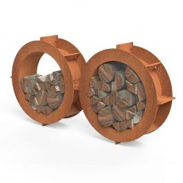 Corten Steel Round Wood Store  - 2m (6ft 6 in)