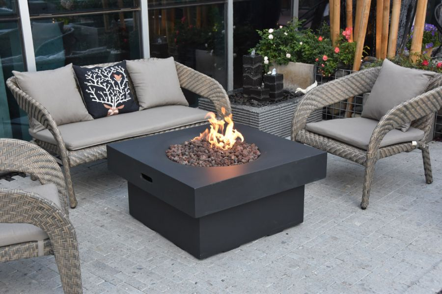 90cm Branford Gas Fire Pit Table in Black