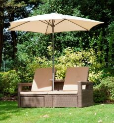 Alexander Rose Monte Carlo Rattan Lovers Garden Recliner Sofa with Cushion