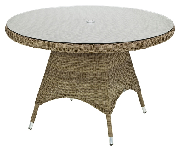 Alexander Rose Monte Carlo 120cm Rattan Garden Table with Glass Top