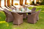Alexander Rose Monte Carlo 150cm Rattan Garden Table with Glass Top