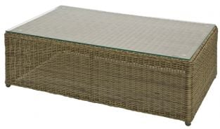Alexander Rose Monte Carlo 100cm Rattan Garden Coffee Table with Glass Top