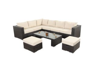Luxe Six Seater Corner Sofa Set with Cushions