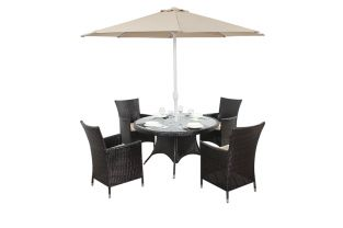 Luxe Four Seater Round Dining Set with Parasol
