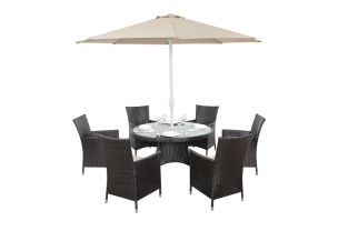 Luxe Six Seater Round Dining Set with Parasol