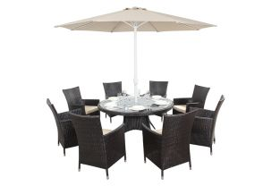 Luxe Eight Seater Round Dining Set with Parasol