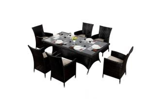 Luxe Six Seater Rectangular Dining Set with Parasol