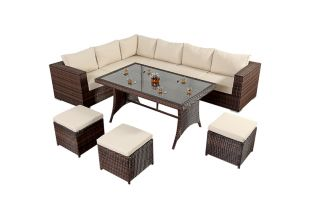 Prestige Six Seater Corner Sofa Dining Set in Brown