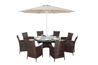 Prestige Eight Seater Round Dining Set in Brown