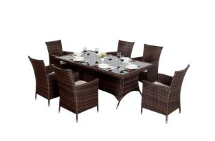 Prestige Six Seater Rectangular Dining Set in Brown