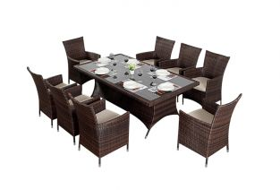 Prestige Eight Seater Rectangular Dining Set in Brown