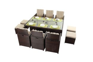 Prestige Six Seater Cube Dining Set with Footstools in Brown
