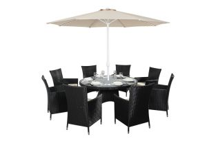 Prestige Eight Seater Round Dining Set in Black