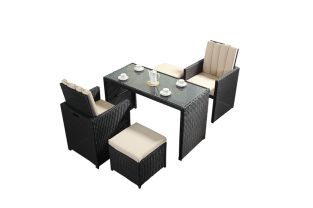 Prestige Two Seater Cube Dining Set with Footstools in Black