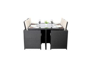 Prestige Four Seater Cube Dining Set with Footstools in Black