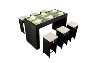 Prestige Six Seater Rattan Bar Set in Black