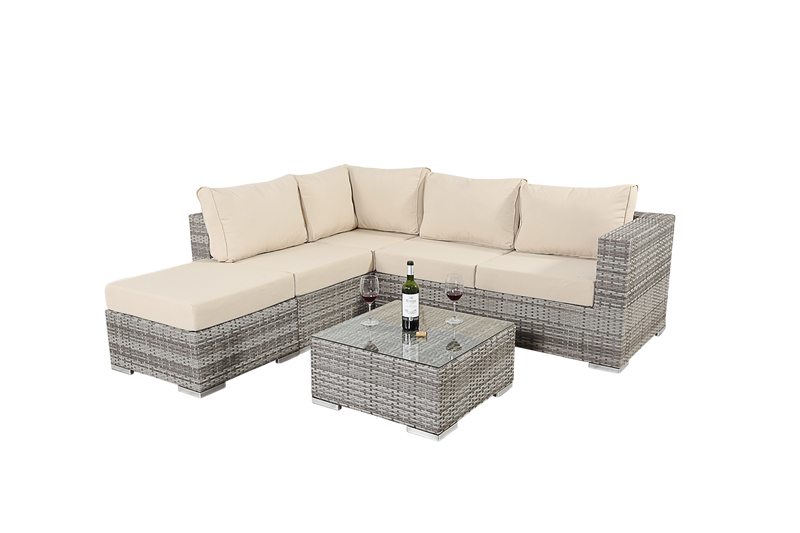 Luxe Rustic Four Seater Corner Sofa Set with Footstool