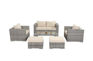 Luxe Rustic Rattan 4 Seater Small Sofa Set