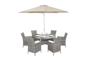 Luxe Rustic Rattan 6 Seater Round Dining Set