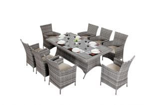 Luxe Rustic Rattan 8 Seater Rectangular Dining Set