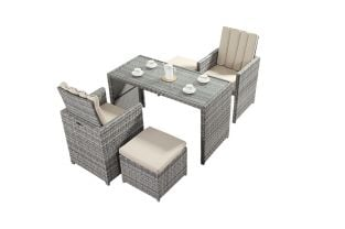 Luxe Rustic Rattan 2 Seater Cube Bistro Set