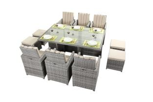 Luxe Rustic Rattan 6 Seater Cube Set